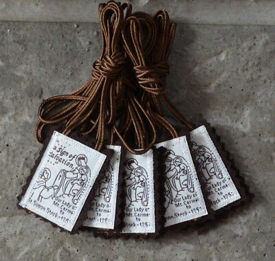 Five (5) Traditional Catholic 100% Brown Wool Our Lady of MT. Carmel Scapular s