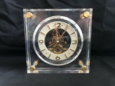 Vintage SEIKO Lucite Clock Skeleton Movement Gold Brass Mantle QAW105G Beautiful