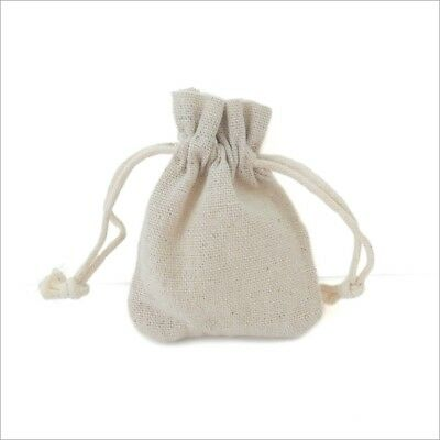 10 x Natural Beige Cotton 7cm x 8.5cm Canvas Drawstring Jewellery Gift Bag