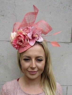 Salmon Coral Blush Pink Flower Feather Hat Hair Fascinator Wedding Races 6064