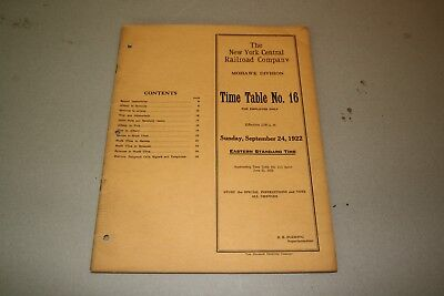 1922 New York Central Railroad Employee Timetable  Mohawk Division. No Reserve