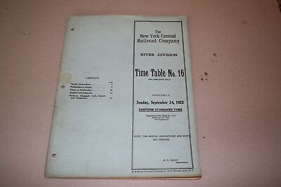1922 New York Central Railroad Employee Timetable  River Division. No Reserve
