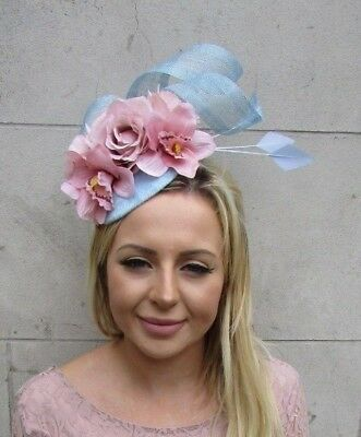 Cornflower Light Blue Blush Nude Pink Rose Flower Feather Hat Fascinator 6065
