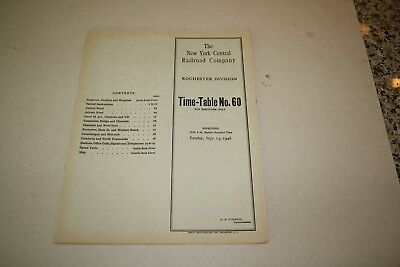 1946 New York Central Railroad Employee Timetable  Rochester Division No Reserve