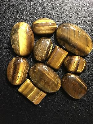 Natural Tigers Eye Cabochon Lot 10 Pieces 290 Carats Large Loose Gemstones