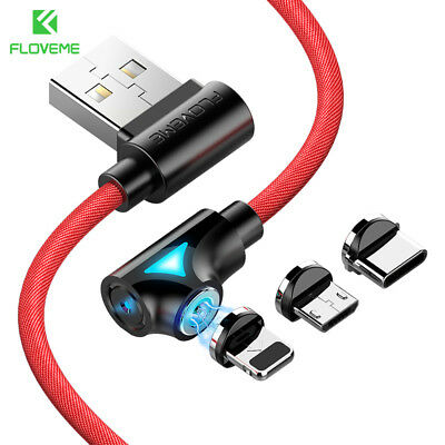 FLOVEME Braided Magnetic Lightning Type-C Micro USB Cable Fast Charge Charging