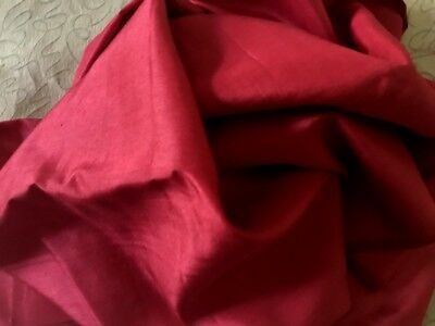 """72"""" Early Vintage Fabric of Delicate Dark Red Raw Silk 34"""" wide"""