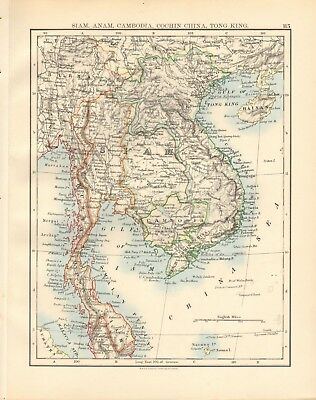 1897 Antique Map- Johnston - Siam, Anam, Cambodia, Cochin China, Tong King