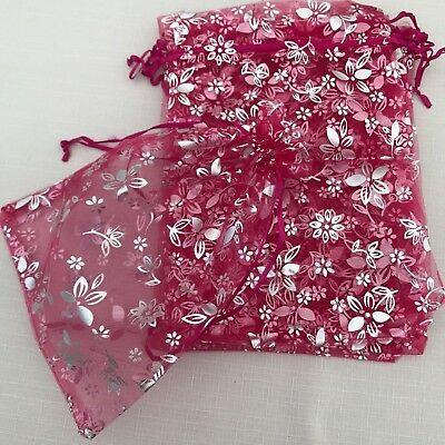 50 STUNNING LARGE FUCHSIA PINK SILVER FLOWER ORGANZA GIFT FAVOUR BAGS 25cm x18cm