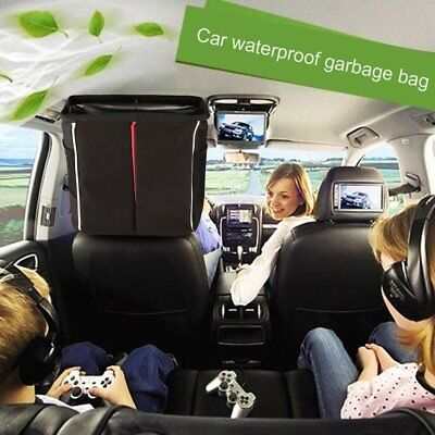 Car Trash Bin Bag Waste Storage Garbage Leakproof Can Organizer w/Lid Pockets G6