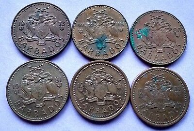 Lot Of 6 Different Barbados Cents 1973, 1976, 1980, 1981, 1985 & 1987 Exact Coin