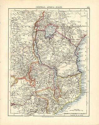 1897 Antique Map- Johnston - Africa - Central Africa, East, Lakes
