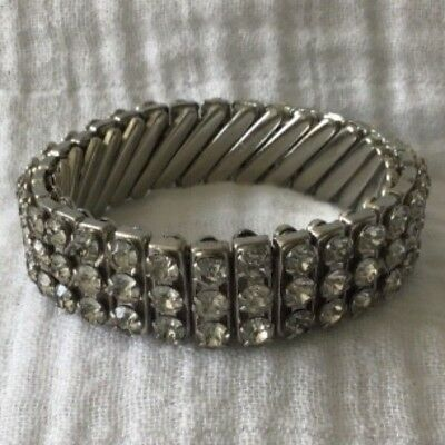 Vintage Made In British Hong Kong Silvertone Rhinestone Expansion Bracelet Small