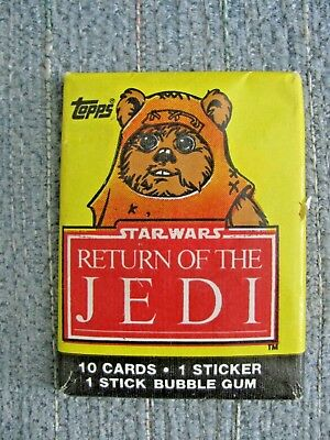 Vtg 1983 Star Wars ROTJ TOPPS Sealed Card Pack Wicket the Ewok on Front Bazooka