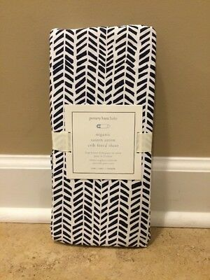 NEW Pottery Barn Kids Baby ORGANIC Sateen Arrow OVAL Crib Fitted Sheets NAVY