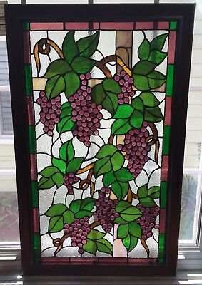 Mid 20th C. Grape And Leaf Stained And Leaded Glass Window