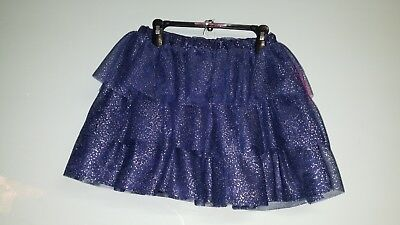 Girl's Betsy Johnson Tiered Ruffle Skirt, Navy Sparkle Size M-10 NWT