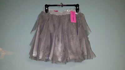 Girl's Betsy Johnson T Ruffle Skirt, Grey Sparkle Size M-10 NWT