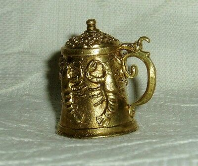 """Russian Сollectible Decorative Brass Thimble """"Beer mug with crawfishes"""""""