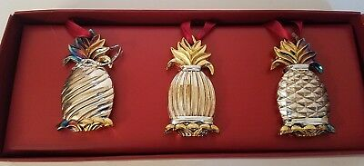 "NOS Set of 3 Lenox Williamsburg Silverplated PINEAPPLE Ornaments 2 1/2"" Long"