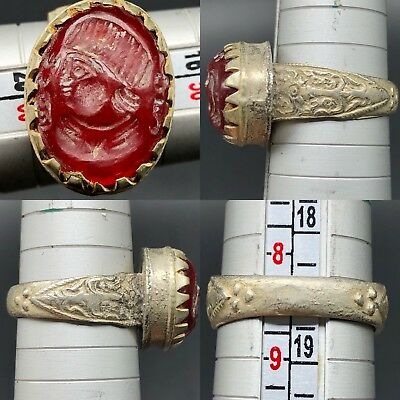 Beautiful Mixed silver Rare Ring Ancient Roman Agate intaglio Ring