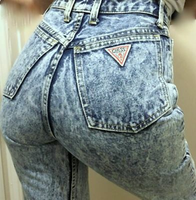 Vintage 80's Guess High Waist Skinny Acid Wash Jeans 27 Ankle Run Much Smaller