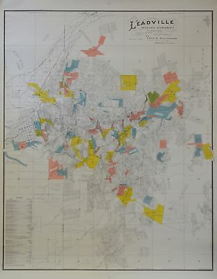 Leadville mining district claims map by Chas Sanders dated 1901 in color