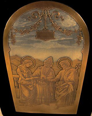 Old Engraved French Plaque Of The Marriage Of The Virgin Mary