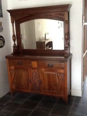 Antique Sideboard With Large Mirror