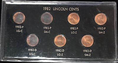 1982 Lincoln Cent 7 VARIETY Set - Copper/Zinc - P/D - Small/Large Date - BU