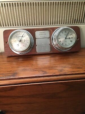 Vintage Celeste Nautical Bulkhead Chrome Cased Clock & Barometer