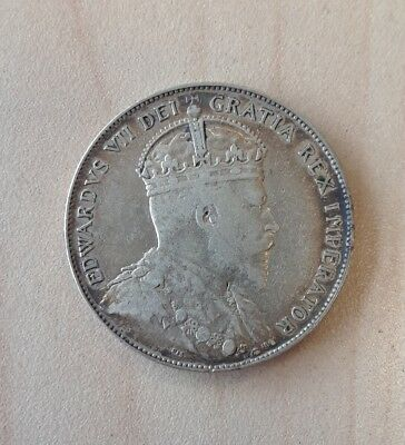 1902 Canada 50 Cents Half Dollar King Edward VII Sterling Silver Coin
