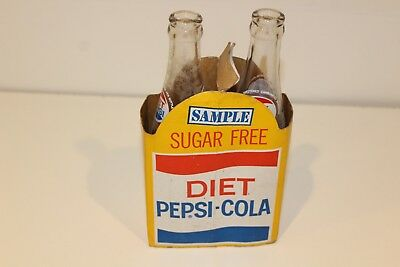 RARE Vintage Sugar Free Diet Pepsi-Cola SampleTwo Pack Carrier with bottles