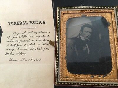 """1858  Funeral Ambrotype picture of dead man 4.25"""" in velvet book form case"""