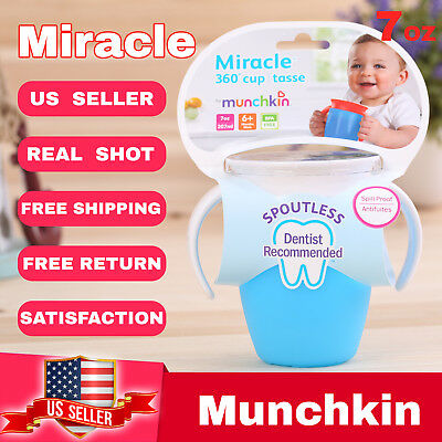 Lot of 2 Munchkin Miracle 360° sippy cup tasse children baby Cup 7oz  Blue