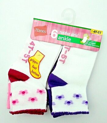 Hanes Girls' Toddler Ankle Socks, Assorted, 6/4T-5T Months (Pack of 6)