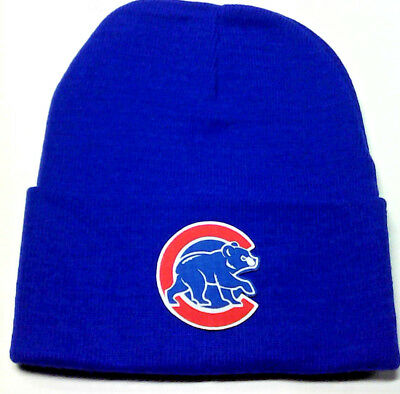 a7526be9c28 READ LISTING! Chicago Cubs HEAT Applied Flat Logo on Beanie Knit Cap hat!