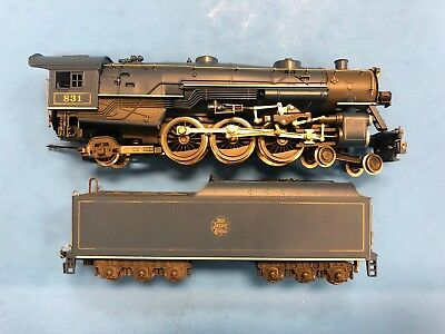 * HO Scale AHM Rivarossi 4-6-2 New Jersey Central 831 Blue Steam Engine & Tender