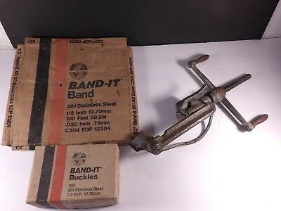 "Band-It C204 201 Stainless 1/2"" 100' Strapping,  1/2"" Buckles & Tool"