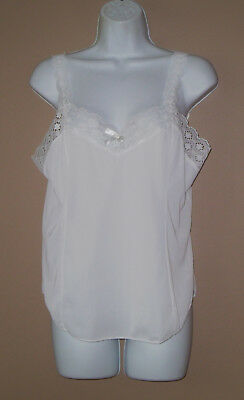 Vintage Womens Size 38 Medium Sleeveless Solid White Lace Trim Camisole Top