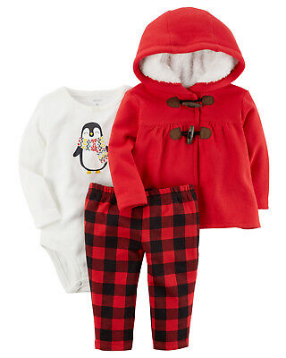 Carters Baby Girls NWT 3-Piece Plaid Penguin Little Jacket Set 6 Mos