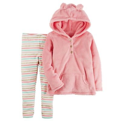 Carter's NWT Baby Girl 3D Ear Sherpa Hoodie & Striped Leggings 3 Mos
