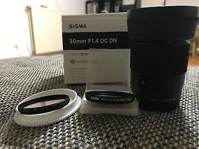 sigma 30mm 1.4 Contemporary Sony APS-C Plus Zubehörpaket wie Neu