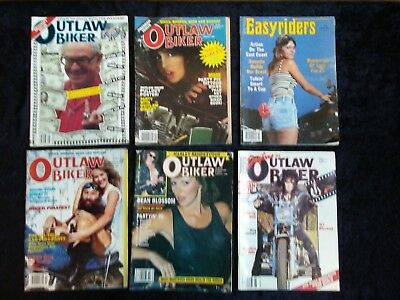 Vintage 1980's Motorcycle Magazine Lot of 6 Rare OUTLAW BIKER + '83 Easyriders