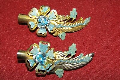 Vintage hair clips, gold and turquoise floral