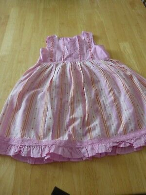 Baby Girl's Sleeveless Pink Striped Dress From Next 12/18 Months