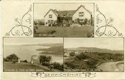 Printed Multiview Postcard Of Berwickshire, Scotland By A. R.edwards