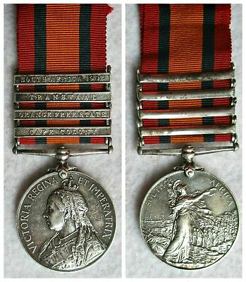 Boer War 4 Clasp Queen's South Africa Campaign Medal to Royal Horse Artillery