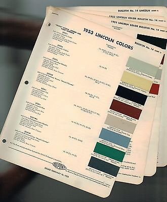 1953 LINCOLN Color Chip Paint Sample Brochure / Chart: COSMOPOLITAN, DuPont