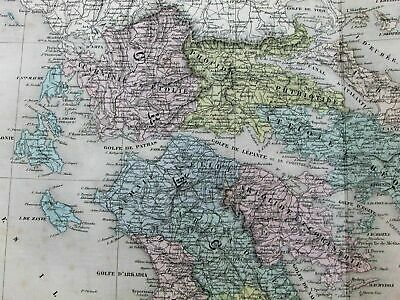 Greece Balkans Serbia Bosnia Constantinople Turkey c.1865 Dufour old antique map